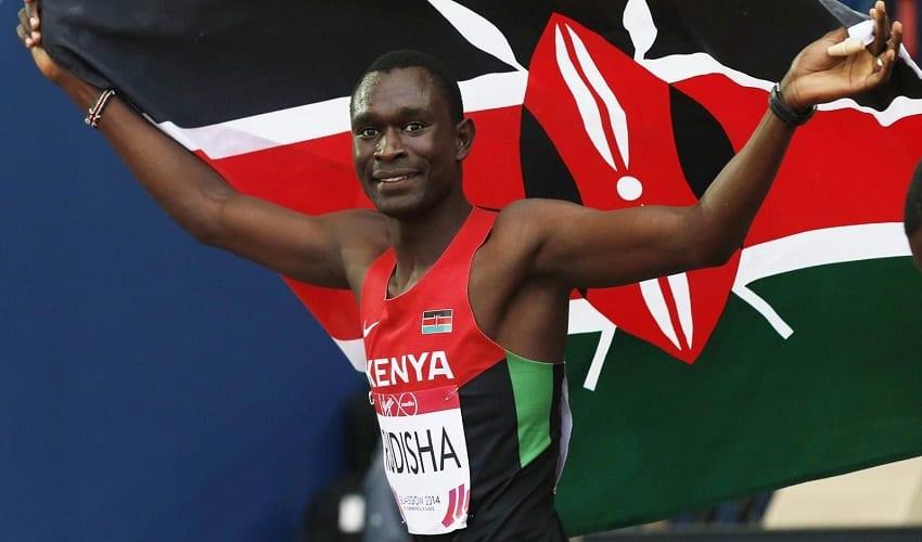David Rudisha celebrates winning the gold medal at the IAAF World Championships in Beijing. Photo/File