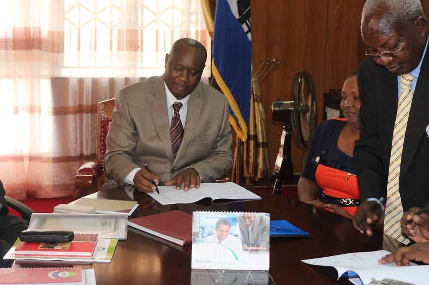 Busia Governor, Sospeter Ojaamong in his office. PHOTO/File