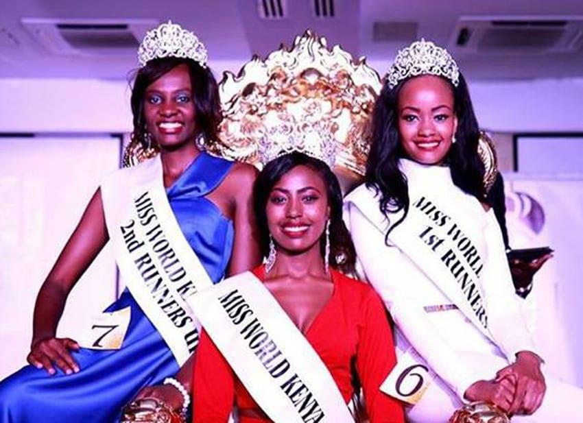 Newly crowned Miss World Kenya Charity Mwangi (centre), 1st runner-up Margaret Wanjiru (right) and 2nd runner-up Olive Waithera PHOTO/MISS WORLD KENYA