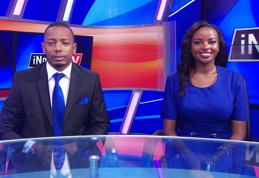 Innoro news presenter, Muthoni wa Mukiri with co-host, Ken M. Wakuraya at Inooro studios PHOTO/INOORO TV