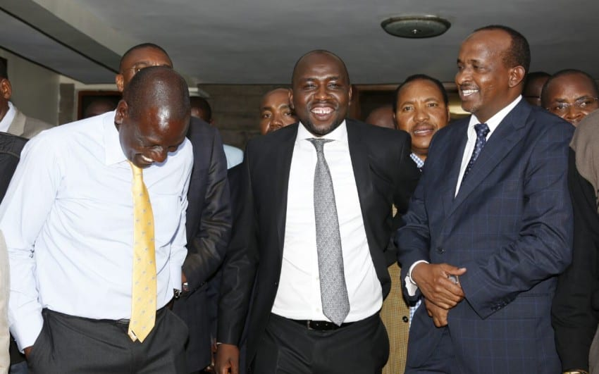 From left; DP Ruto, Senator Murkomen and Aden Duale share a laughter after ICC terminated cases against Ruto and Sang. [Photo/DPPS]