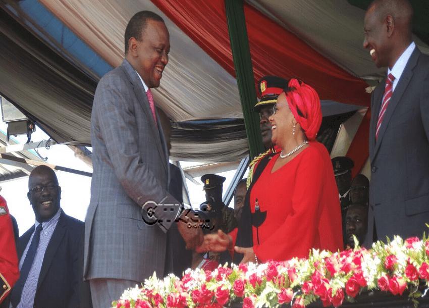 President Uhuru Kenyatta greets First Lady Margaret Kenyatta / PHOTO Benjamin Wafula