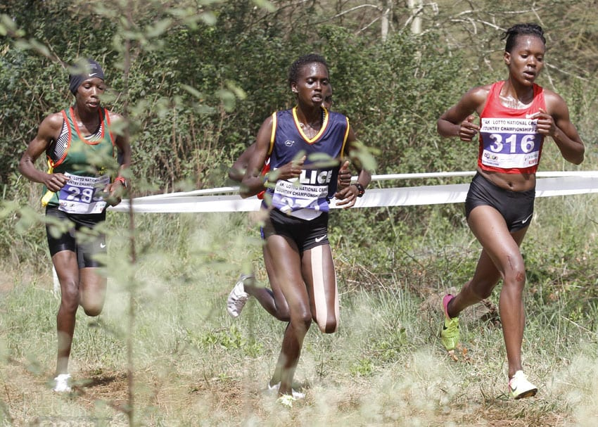 Two-time World Cross junior champion, Faith Chepng'etich leads Lilian Kasait (centre) and Alice Aprot during the senior women 10km race at the 2017 National Cross Country Championships at Uhuru Gardens in Nairobi on February 18, 2017. The trio made the senior women squad for the 2017 IAAF World Cross in Kampala. Photo/Oliver Ananda/www.sportpicha.com