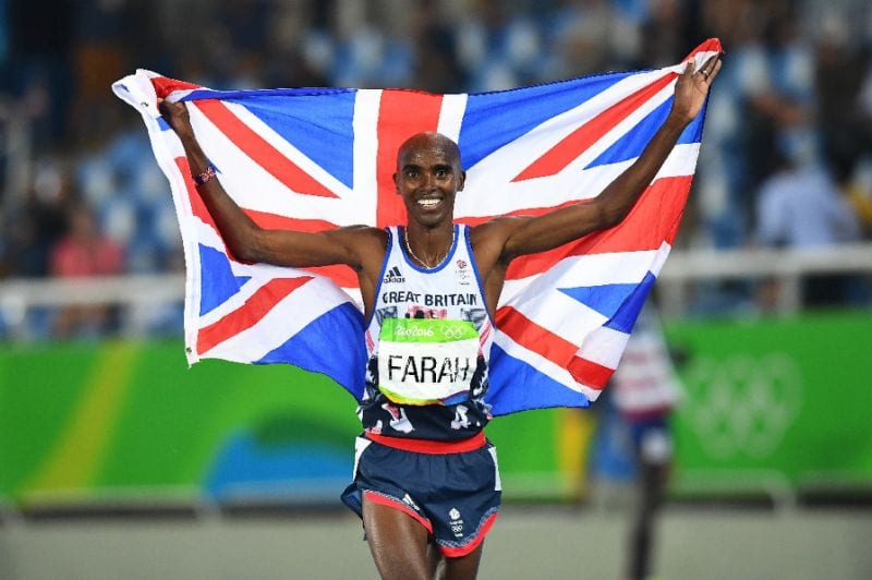 Britain's Mo Farah celebrating winning the Men's 5000m Final during the athletics event at the Rio 2016 Olympic Games on August 20, 2016 (AFP Photo/FRANCK FIFE)