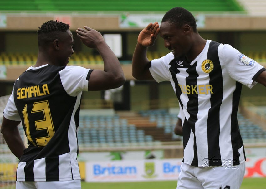 Hashim Sempala of Tusker FC celebrates with Clifford Alwanga after the latter scored against Mathare United during their Kenyan Premier League match at the Kasarani Stadium on August 6, 2016.Sempala scored the opening goal against AS Port Louis 2000 in Mauritius on Sunday, February 19, 2017 in their CAF Champions League return leg clash. Photo/Tabitha Otwori/www.sportpicha.com
