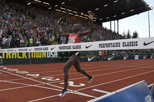 Celliphine Chespol in action at the 2017 IAAF Diamond League meeting in Eugene (PHOTO/IAAF)