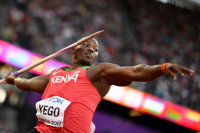 Kenya's Julius Yego competes in the men's javelin throw athletics event at the 2017 IAAF World Championships at the London Stadium in London on August 10, 2017. / AFP PHOTO / Andrej ISAKOVIC