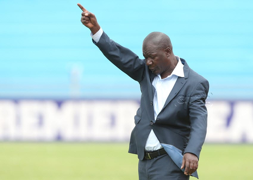 AFC Leopards SC coach Robert Matano reacts during their SportPesa Premier League match against Tusker FC at Nyayo national stadium in Nairobi on August 24, 2017. AFC Leopards SC won 1-0. Photo/Stafford Ondego/www.sportpicha.com