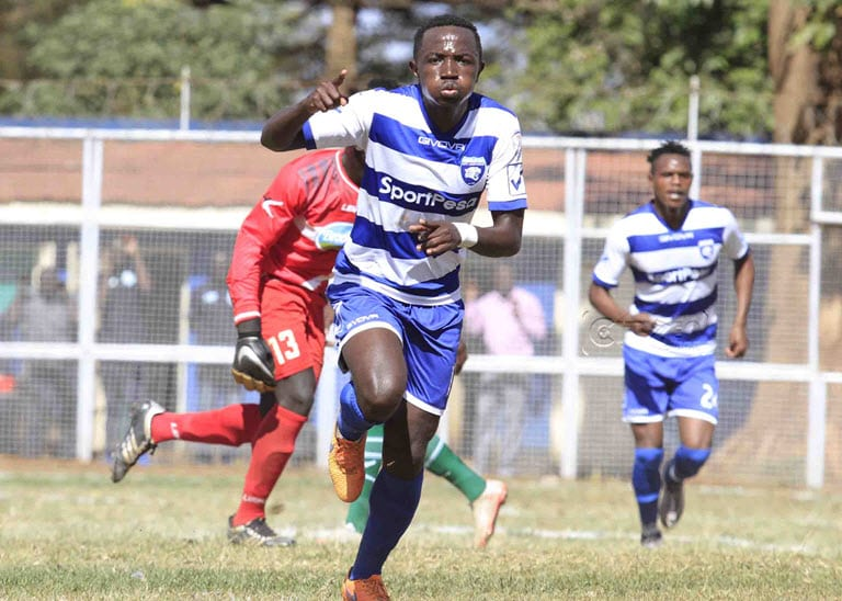 AFC Leopards SC forward Alexis Kitenge celebrates scoring against Thika United FC during their SportPesa Premier League match at the Thika Sub county stadium in Thika on September 20, 2017. AFC Leopards won 2-0. Photo/Oliver Anandawww.sportpicha.com