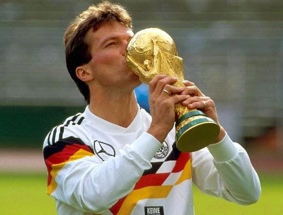 GOLDEN DAYS:A proud Lothar kisses the golden World Cup trophy he won as captain of the German National Football Team in 1990 in West Germany.Imade/COURTESY.