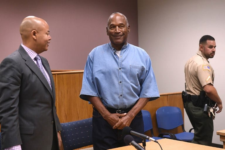 O.J. Simpson (C) during a parole hearing in Lovelock, Nevada. PHOTO/AFP
