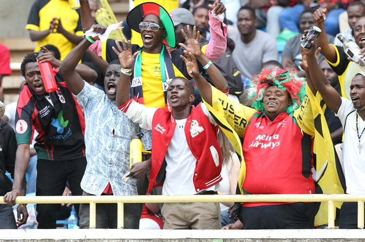Kenya Shujaa team fans cheer their team against Western Province during their Safari Sevens semi-finals match at Safaricom Stadium Kasarani on September 25, 2016. Kenya won 17-05 to qualify for the finals. Photo/Sportpicha