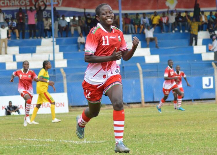 PURE DELIGHT.A Kenyan player celebrates during the World Cup qualifier against Ethiopia at the Kenyatta Stadium in Machakos.IMAGE/Sportpicha.