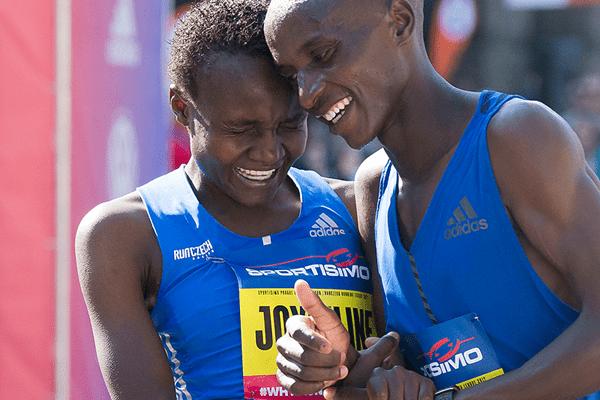 Joyciline Jepkosgei after winning the Sportisimo Prague Half Marathon.IMAGE/AFP/IAAF.