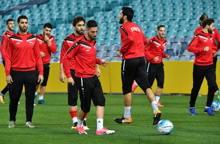 Syria's players attend a training session in Sydney on October 9, 2017, on the eve of their 2018 World Cup football qualifying match against Australia. / AFP PHOTO