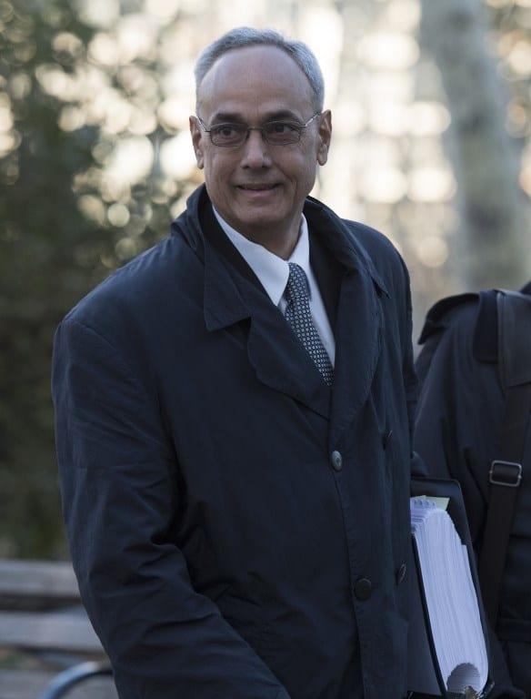 Former president of the Peruvian Football Association Manuel Burga, one of three defendants in the FIFA scandal arrives at the Federal Courthouse in Brooklyn on November 15, 2017 in New York. A former Argentine football official has reportedly committed suicide after he was accused of bribe-taking in testimony to a trial of top former FIFA figures in New York. Jorge Delhon threw himself under a train in a Buenos Aires suburb on November 14, 2017, Argentine newspapers Clarin and La Nacion reported on their websites. / AFP PHOTO / DON EMMERT