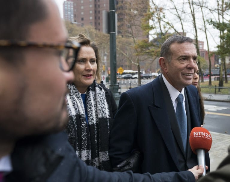Former FIFA vice president Juan Angel Napout of Paraguay arrives November 13, 2017 at Brooklyn Federal Courthouse in New York. The FIFA corruption trial is to get underway with opening statements in New York two and a half years after US prosecutors unveiled the largest graft scandal in the history of world soccer. Forty-two officials and marketing executives, and three companies were indicted in an exhaustive 236-page complaint detailing 92 separate crimes and 15 corruption schemes to the tune of $200 million.  / AFP PHOTO / Don EMMERT