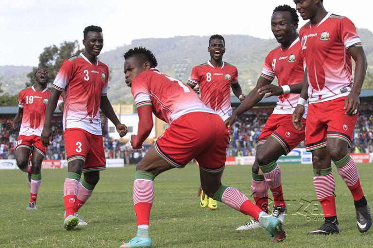 Kenya Harambee Stars players celebrates Ochieng Ovella's goal against Zanzibar during their Cecafa Senior challenge cup final match at Kenyatta stadium in Machakos on December 17, 2017. Photo/Oliver Ananda/Sportpicha/Citizen