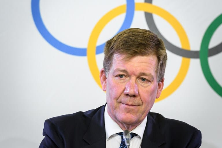 International Olympic Committee (IOC) Medical and Scientific Director Richard Budgett addresses a press conference on the sideline of an executive meeting on December 5, 2017 in Lausanne. The International Olympic Committee opened a high-stakes summit on December 5 on whether to bar Russia from the Winter Olympics over allegations its medal haul at the 2014 Sochi Games was fuelled by state-sponsored doping. / AFP PHOTO / Fabrice COFFRINI