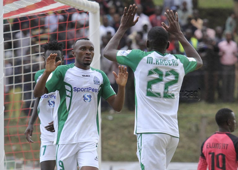 Gor Mahia FC forward Jacques Tuyisenge (L) celebrates with teammate Medie Kagere after scoring against Zoo FC during their Kenyan Premier League (KPL) at Kericho Green stadium on February 15, 2018. Photo/Oliver Ananda/www.sportpicha.com