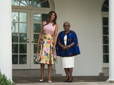 First Ladies Melania Trump and Margaret Kenyatta at the White House where they will hold a private meeting. PHOTO/JACQUE MARIBE
