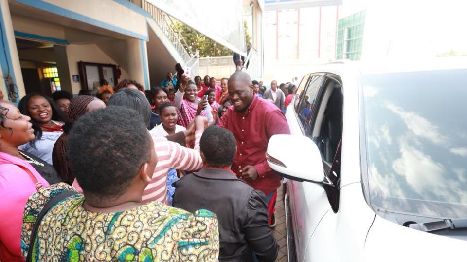 Nairobi Senator Johnson Sakaja arrives with the bride at Jesus Winners Ministry Church in Roysambu.