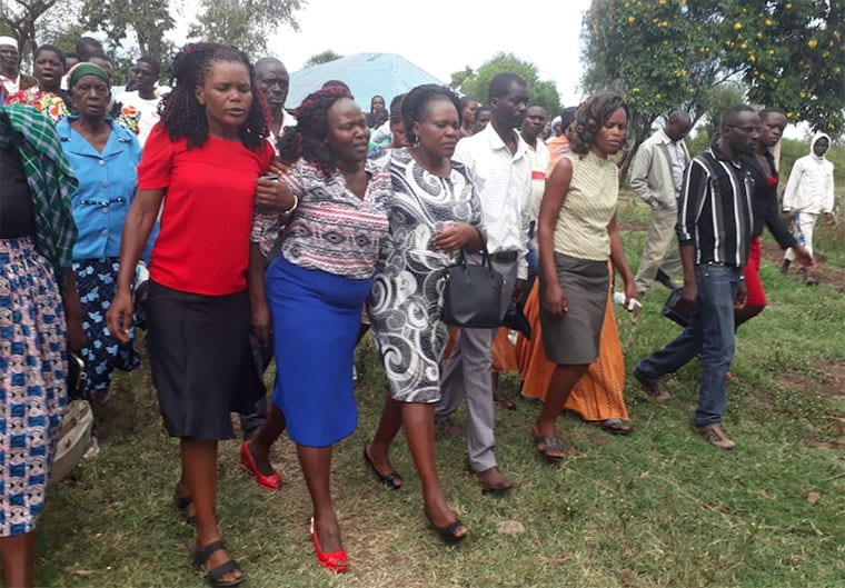 Melida Auma, Sharon Otieno's mother (in blue skirt). Photo/ALY ABICH