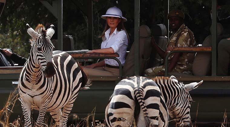 Melania's white hat evokes colonialist comparison