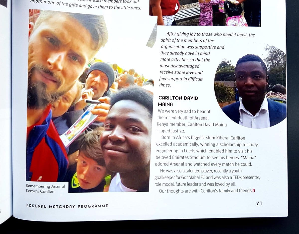 Arsenal F.C to honour student Carilton Maina shot dead in Nairobi