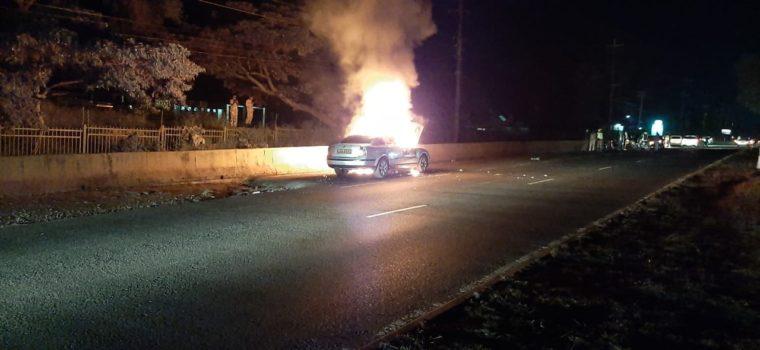 Vehicle bursts into flames on Lang'ata Road