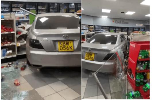 Drama as driver crashes car into a store on Waiyaki Way