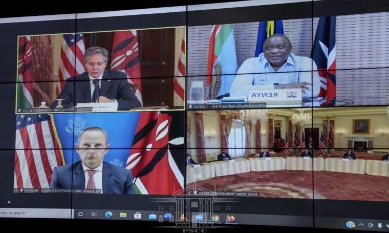 President Uhuru Kenyatta held bilateral talks with US Secretary of State Anthony Blinken during his virtual visit to Kenya on April 27, 2021. PHOTO | PSCU