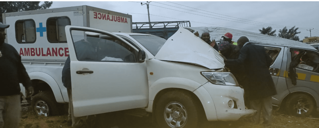 11 sustain serious injuries in accident involving a Matatu and an ambulance in Mwea